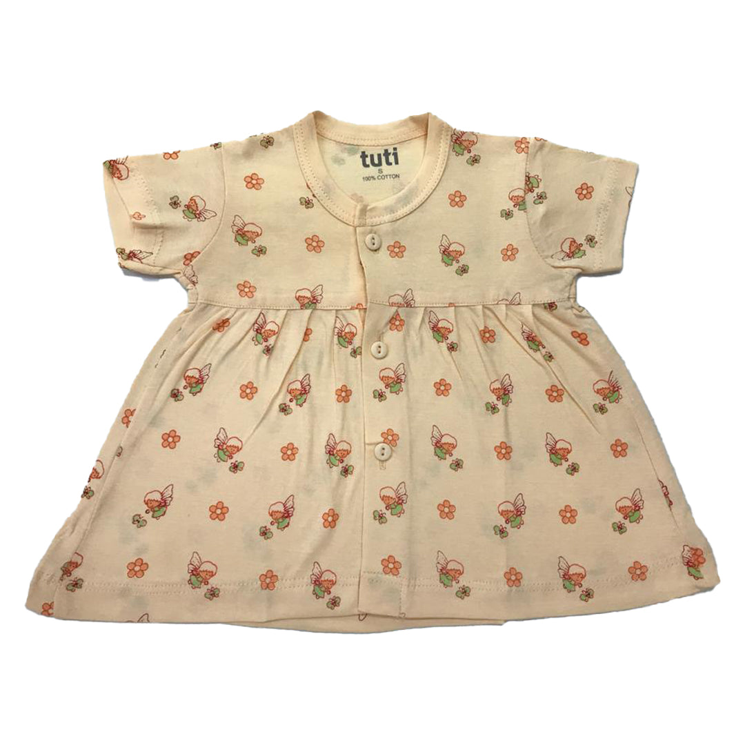Frock Yellow short sleeve with all over angel print (MRP inclusive of all taxes)