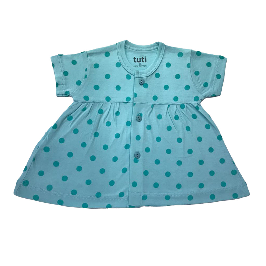 Frock Sky Blue short sleeve with all over contrast Cyan polka dots (MRP inclusive of all taxes)