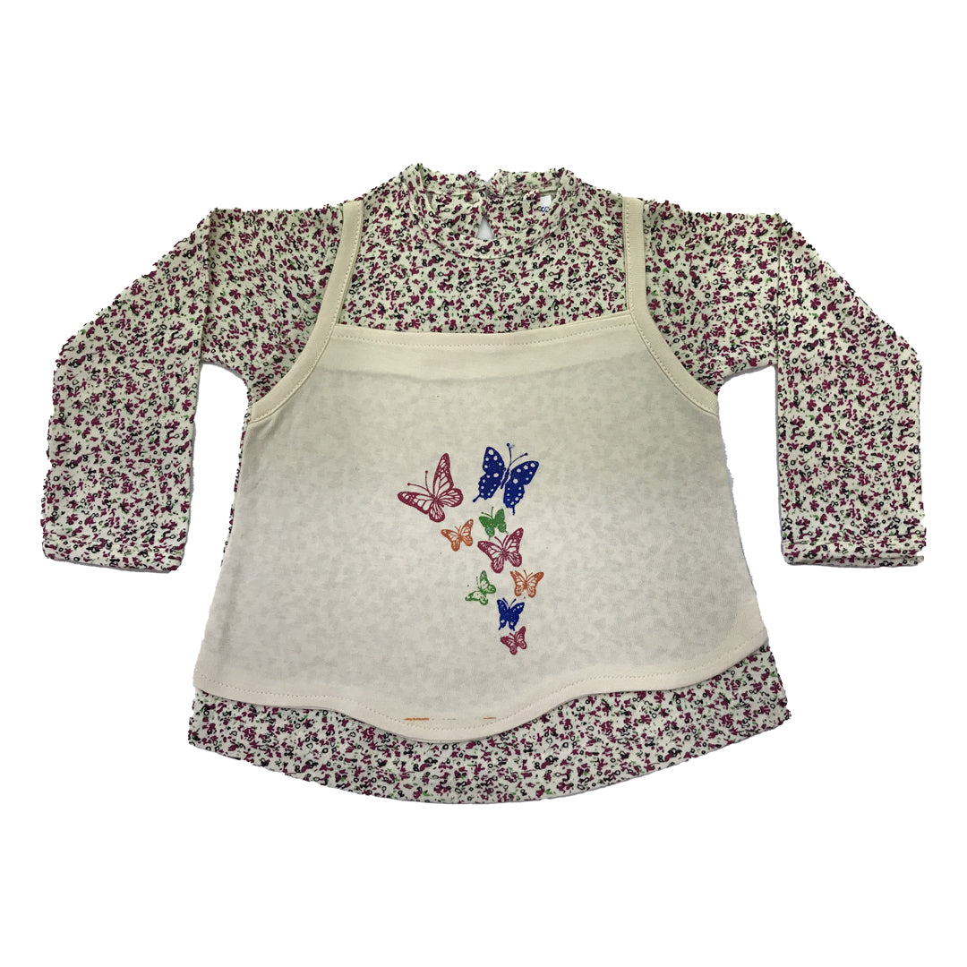 Printed Frock cream full sleeves/ contrast apron style soft yellow front with butterfly print (MRP inclusive of all taxes)