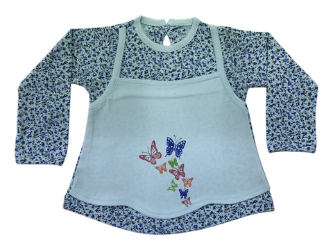 Printed Frock Blue full sleeves/ contrast apron style soft blue front with butterfly print (MRP inclusive of all taxes)