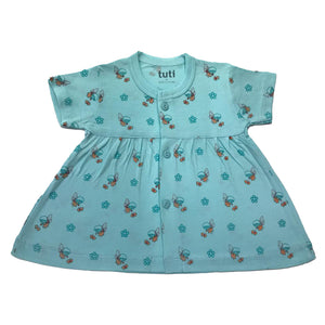 Frock Sky Blue short sleeve with all over angel print (MRP inclusive of all taxes)