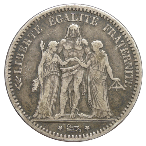 1870-1889 France 5 Francs Silver Crown