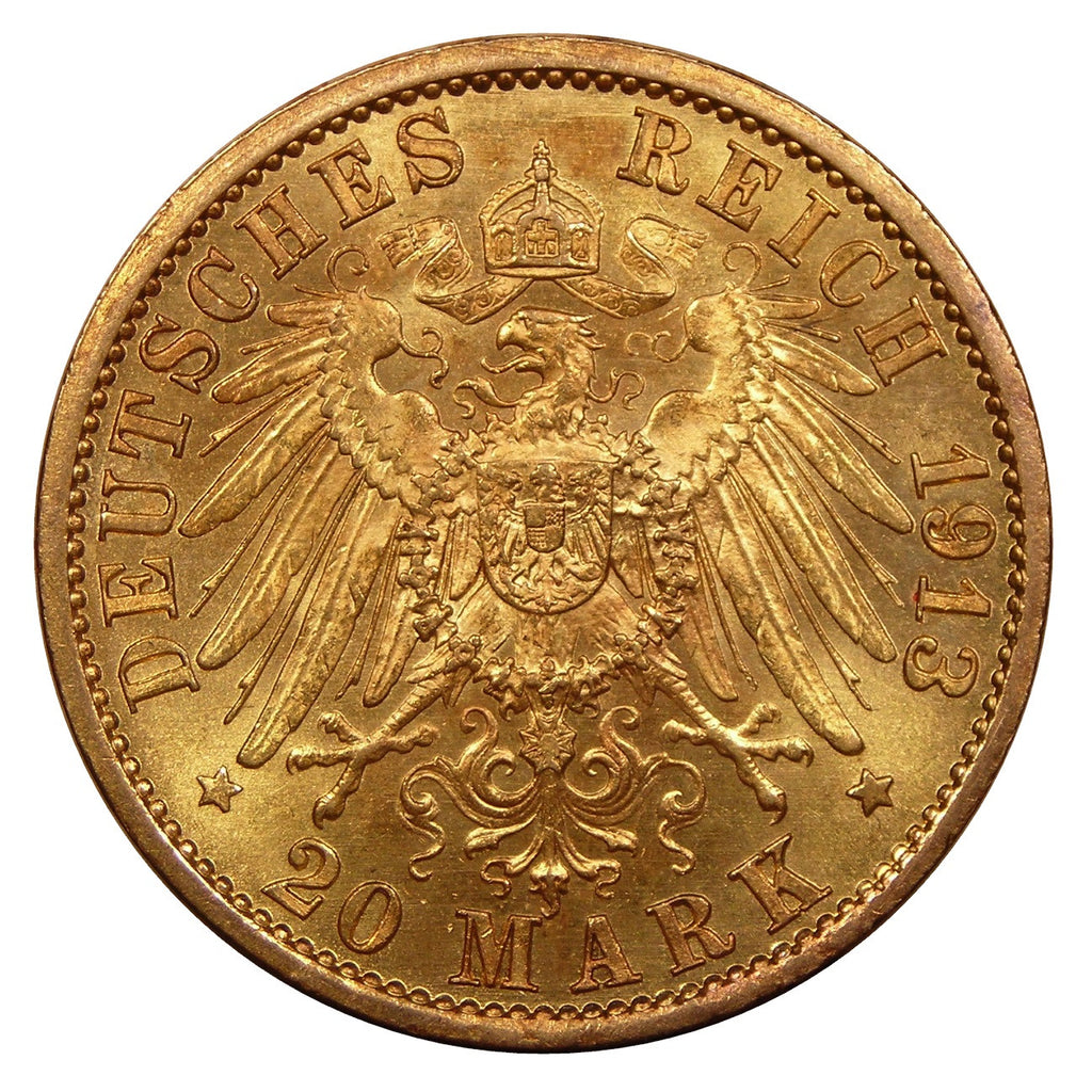1890-1913 Prussia (German States) Gold 20 Mark