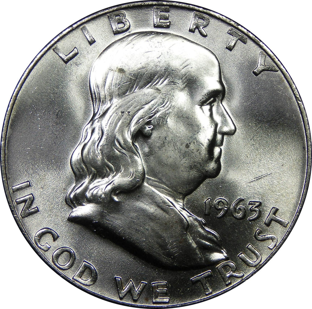 1963 U.S. Franklin Silver Half Dollar, Choice Brilliant Uncirculated Condition
