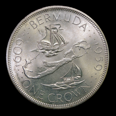1959 Bermuda Crown - 350th Anniversary Commemorative