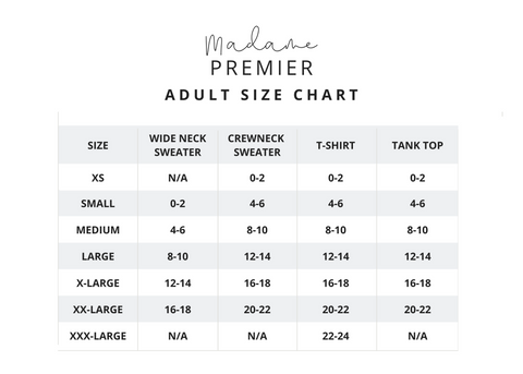 Madame Premier Adult Size Chart