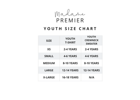 Madame Premier Youth Size Chart