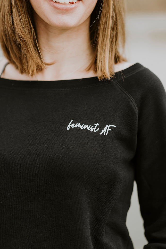 Feminist AF Adult Wide Neck Sweater