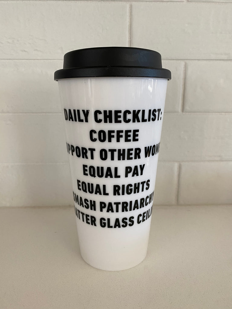 Feminist Daily Checklist Travel Mug