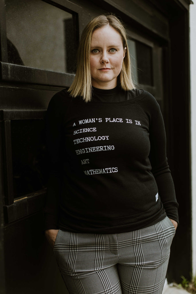 A Woman's Place Is In Science, Technology, Engineering, Arts and Mathematics Adult Wide Neck Sweater
