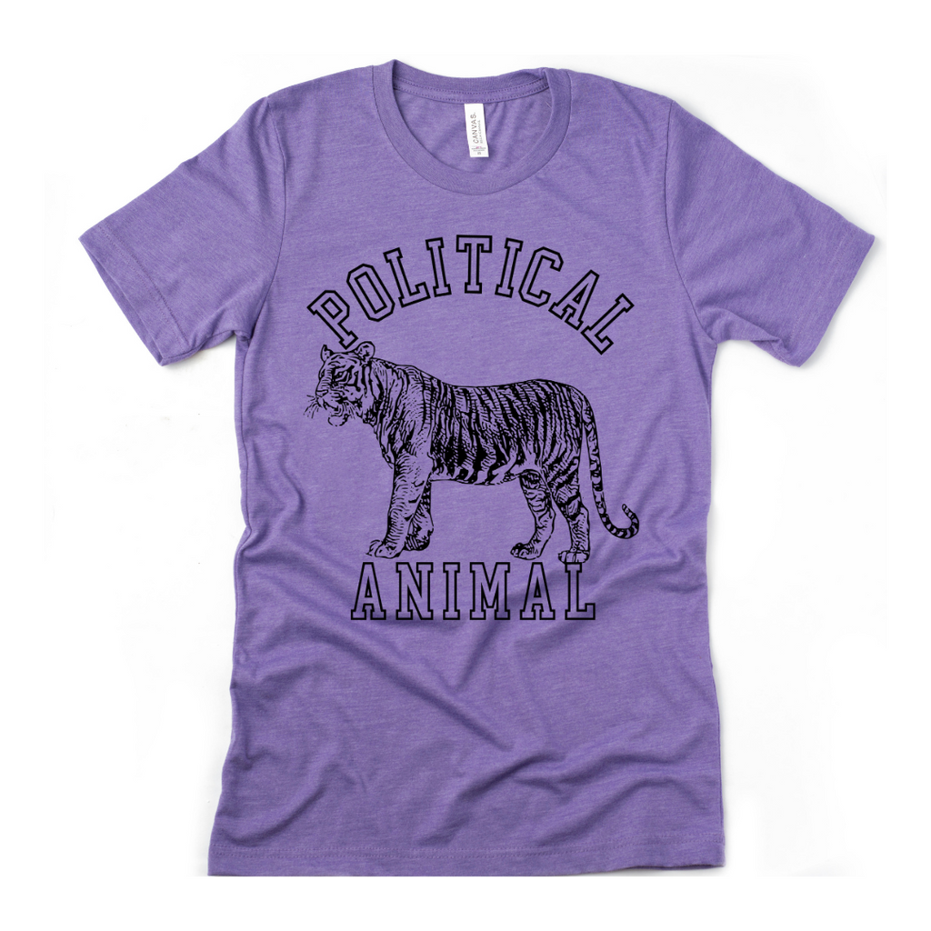 Political Animal Heather Purple Adult Unisex T-Shirt
