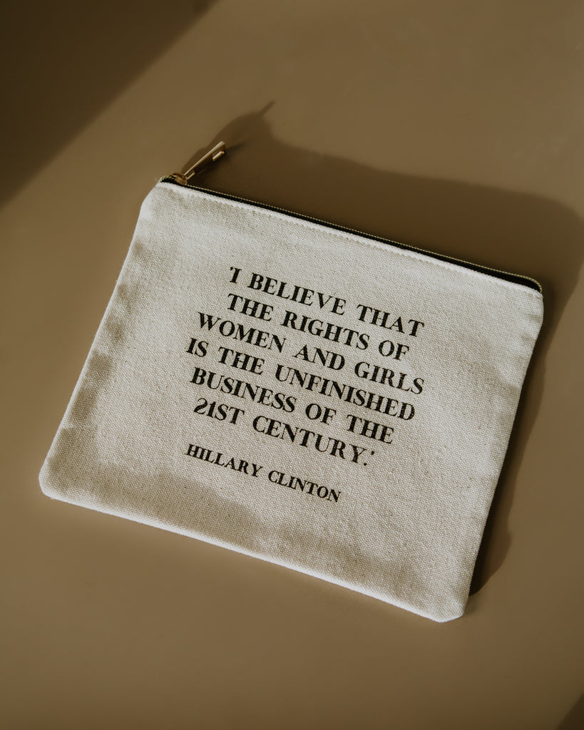 The Rights of Women and Girls Hillary Clinton Quote Pouch