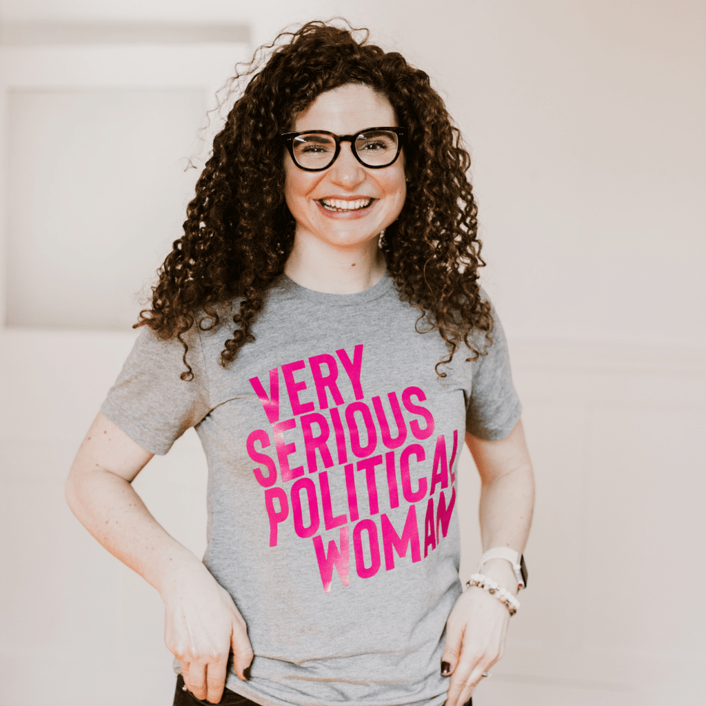 Pink Very Serious Political Woman Adult T-Shirt