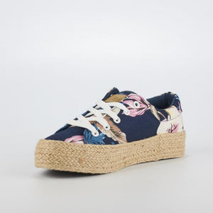Miss Black Navy Blue Floral Espadrille Sneakers