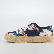 Load image into Gallery viewer, Miss Black Navy Blue Floral Espadrille Sneakers