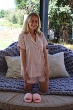 Load image into Gallery viewer, Lila Rose Two Piece Summer Silk Nightwear (Baby Pink)
