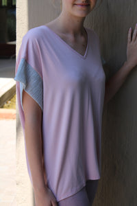 Iconic Plain Wide Cut Sleeve Top (Baby Pink)