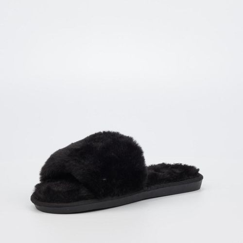 Miss Black Rella Fur Slippers in Black with Hard Rubber Sole