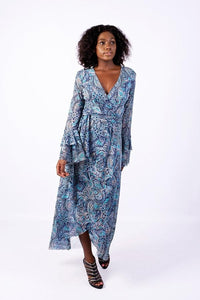 Iconic Asymetrical Wrap Dress, Blue Paisley