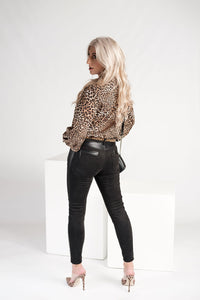Bon Bon Black Suede Pants with Pleather Detail