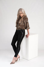 Load image into Gallery viewer, Bon Bon Black Suede Pants with Pleather Detail