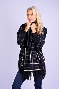 Iconic Navy/ Black Check Pashmina with Sleeves