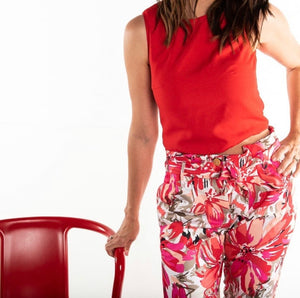 Glare Full Length Pants (Hot Pink Floral)
