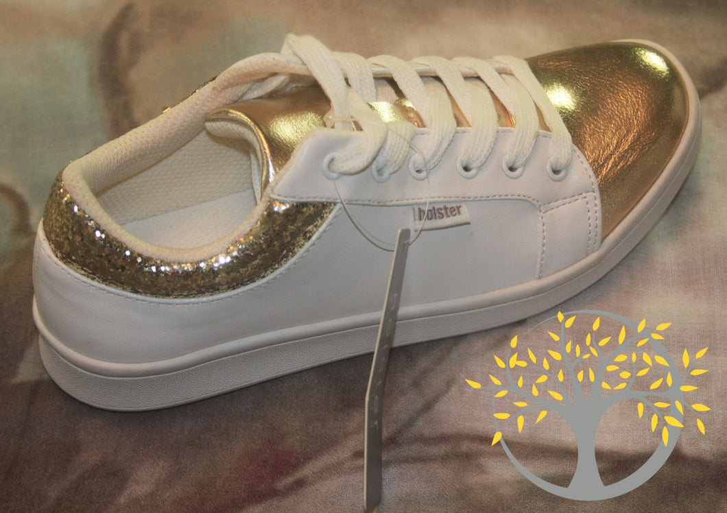 Holster Glitter Sneakers (White & Gold)