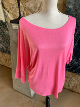 Load image into Gallery viewer, Bon Bon Three Quarter Sleeve Top (Florecent Pink)