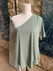 Bon Bon Plain Double Layer Blouse (Olive Green)