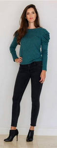 Bouton Ruched Sleeve Sweater in Black