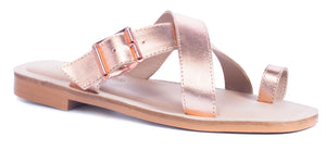Saint&Summer Lexie Rose-Gold Leather Crossover w/ Buckle