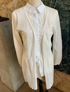 Bon Bon Open Cardigan (White)