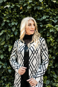 Bon Bon Long Sleeved Black and White Cardi