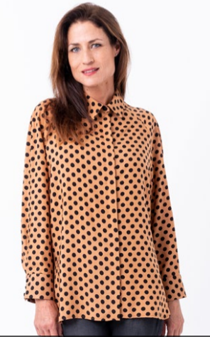 Bouton Spotted Raglan Shirt in Nutmeg Spot