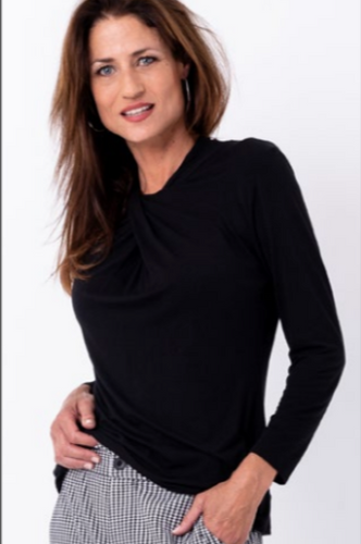 Bouton Twister Long Sleeved Top in BLACK