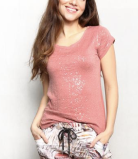 Tribute Peach Sequin Tee