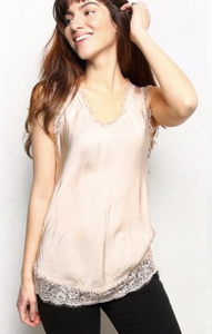 Tribute Champagne Silky Satin Vest with Lace Hem