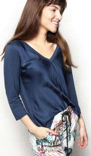 Tribute Navy V-Neck Silky Satin 3/4 Sleeved Top