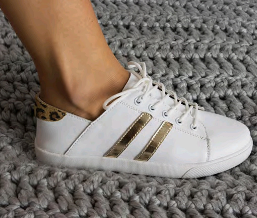 Julz Shyla White and Gold Sneakers