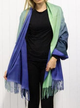 Load image into Gallery viewer, Iconic Reversible Ombre Pashmina, Sage & Petrol