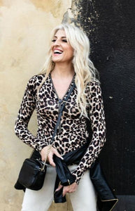 Bon Bon Long Sleeve Leopard Print Blouse