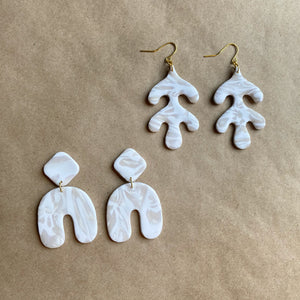 Pearl & white leaf and whimsy dangles (two pack)