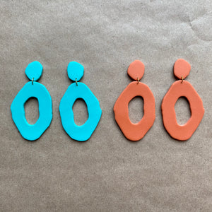Teal and clay color hoops (two pack)