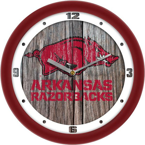 Arkansas Razorbacks - Weathered Wood Wall Clock - SuntimeDirect