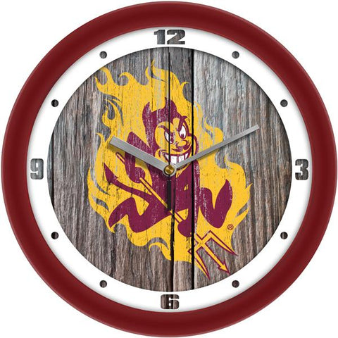Arizona State Sun Devils - Weathered Wood Wall Clock - SuntimeDirect