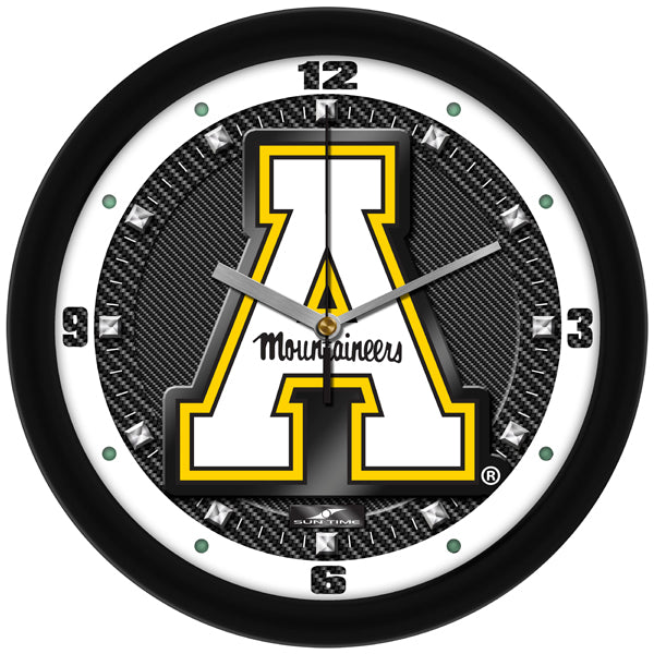 Appalachian State Mountaineers - Carbon Fiber Textured Wall Clock - SuntimeDirect