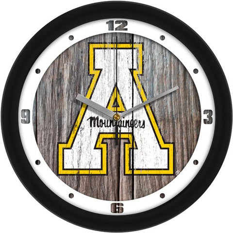 Appalachian State Mountaineers - Weathered Wood Wall Clock - SuntimeDirect