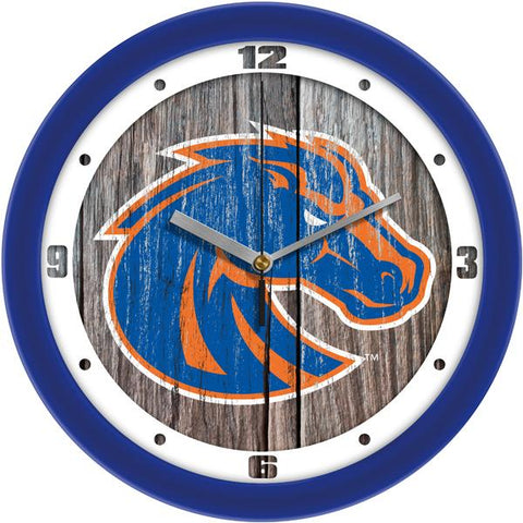 Boise State Broncos - Weathered Wood Wall Clock - SuntimeDirect