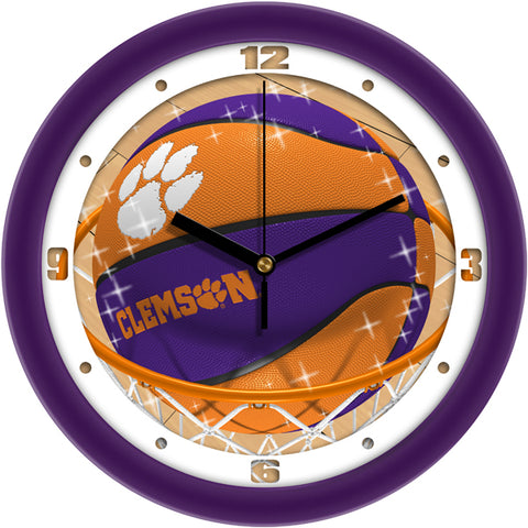 Clemson Tigers - Slam Dunk Wall Clock - SuntimeDirect